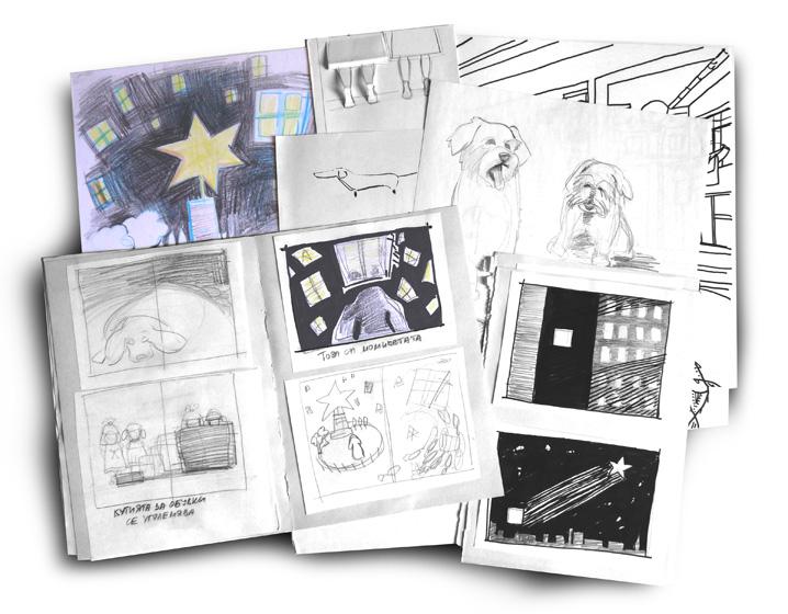 """Детска книга """"Чарли-Късметлийска Нощ"""" скици"""